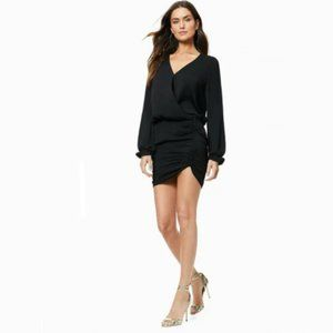 Ramy Brook-Alec Faux Wrap Dress Ruched Long Sleeve